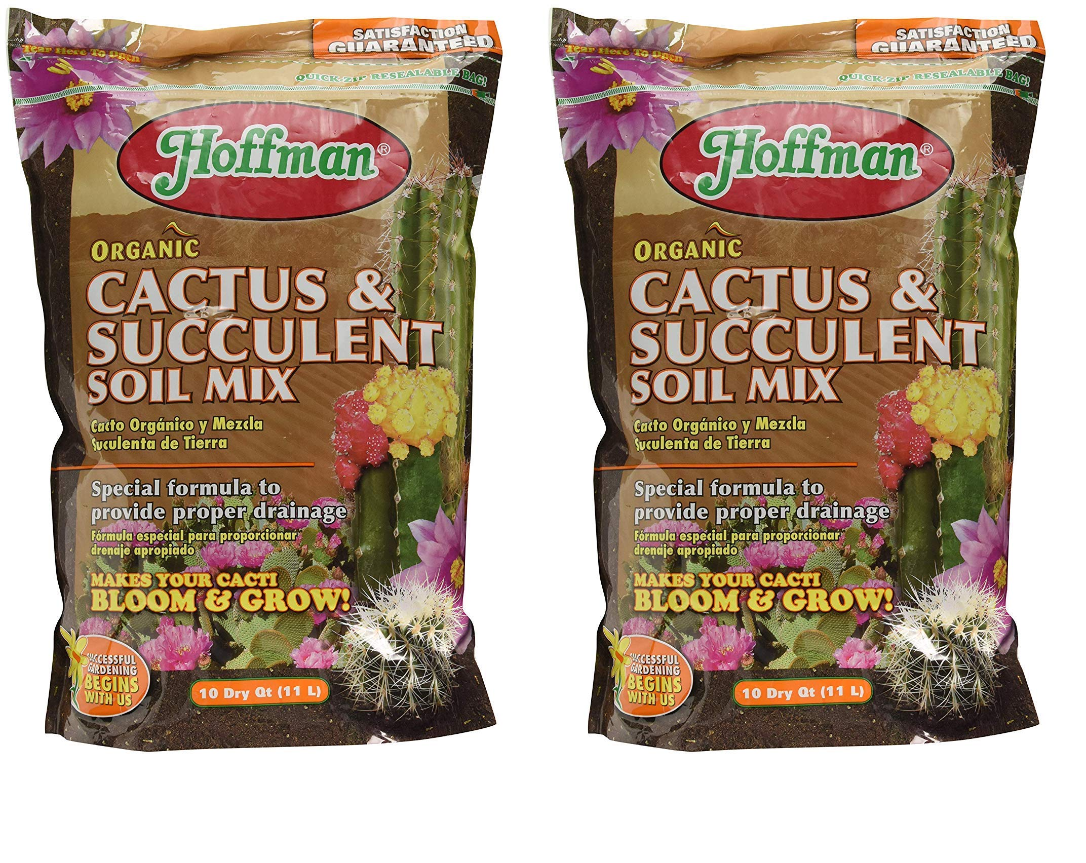 Hoffman 10410 Organic Cactus and Succulent Soil Mix, 10 Quarts (1, 2-Pack) by Hoffman