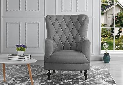Amazon Com Plush Classic Tufted Linen Fabric Armchair Living Room