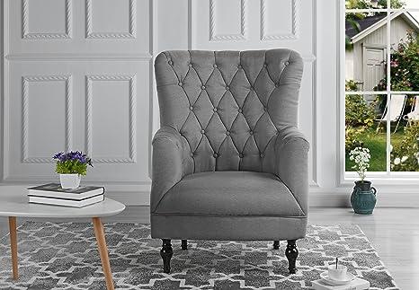 Amazon.com: Sillón de tela de lino de felpa, diseño clásico ...