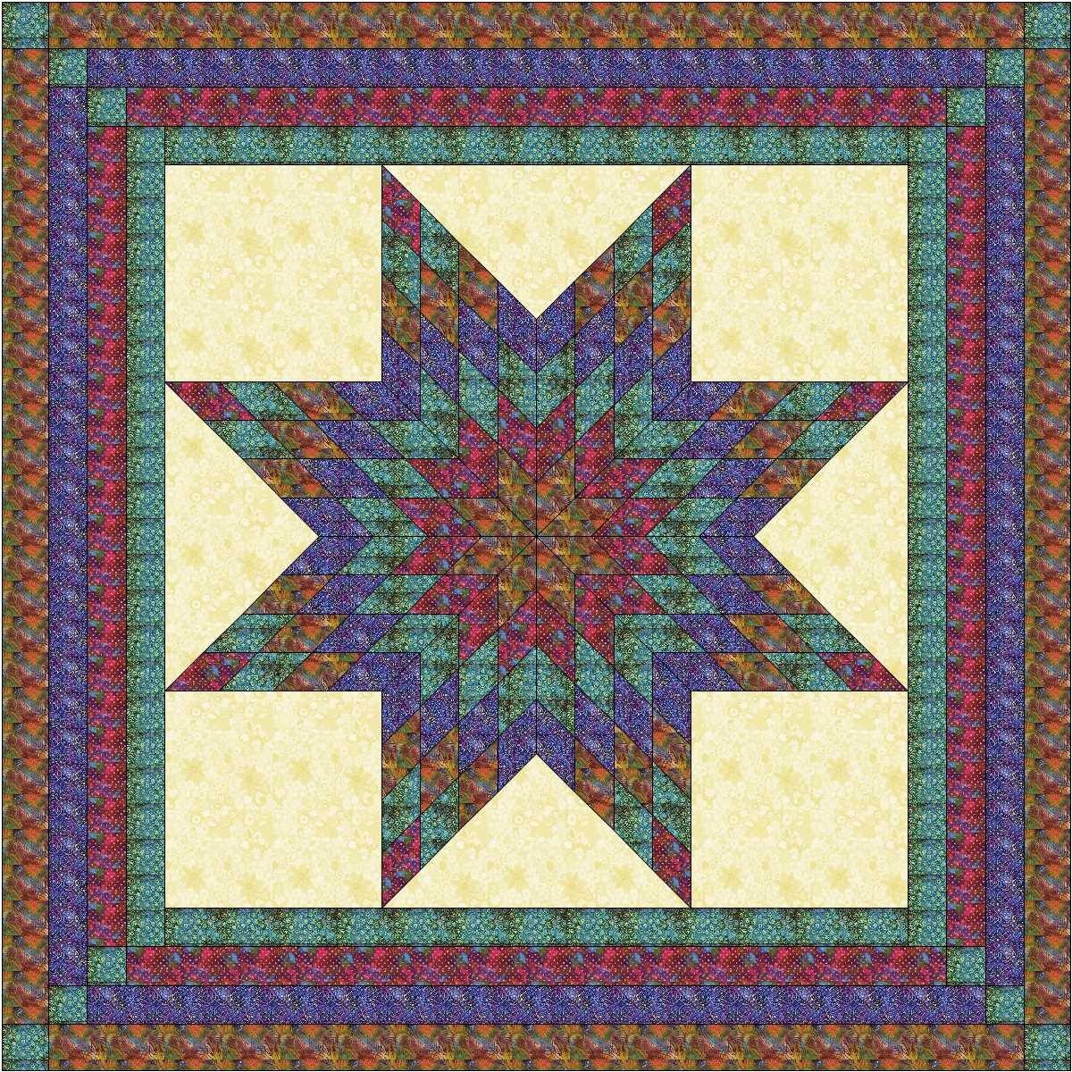 Easy Quilt Kit Brilliant Batik Lonestar-queen/EXPEDITED SHIPPING by Material Maven