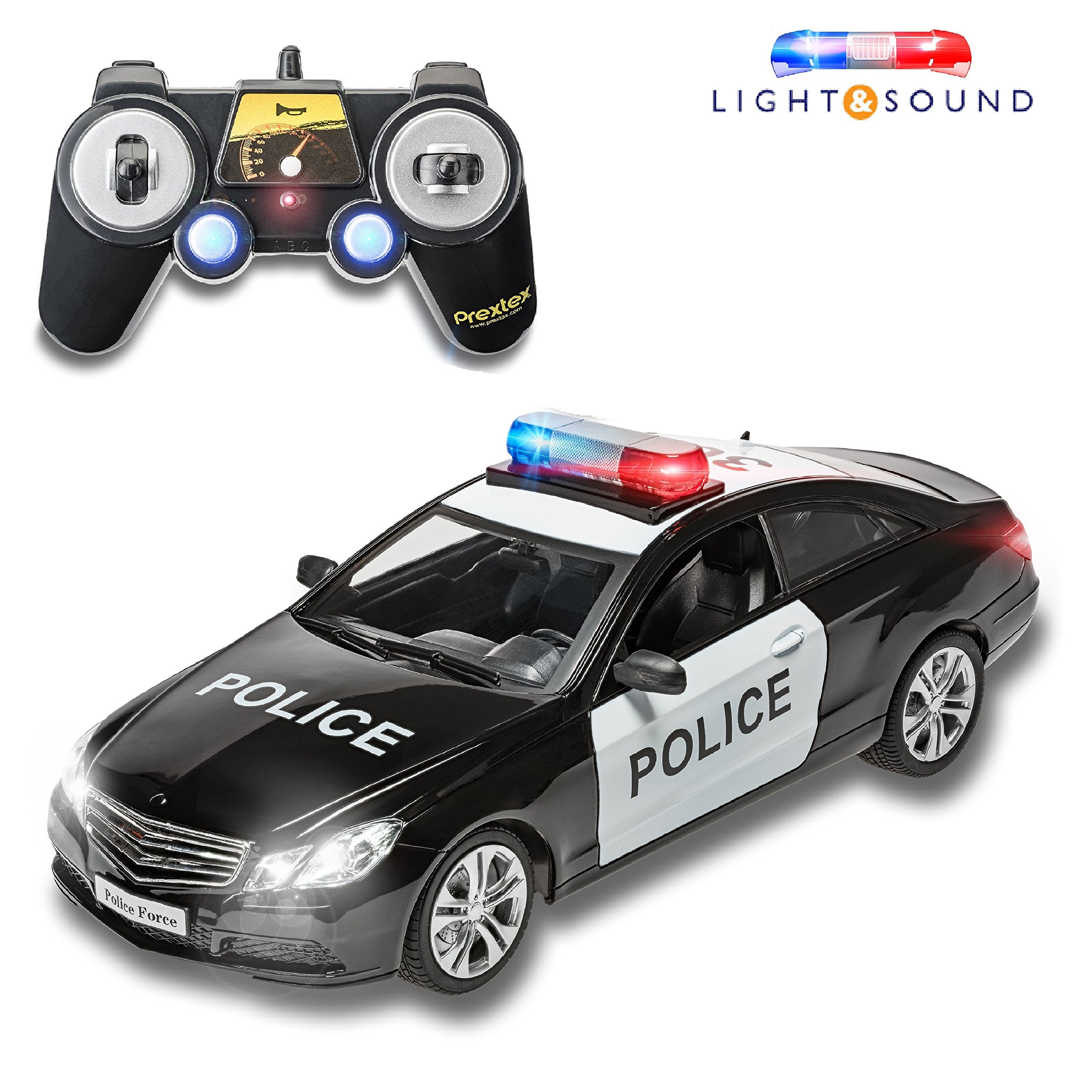 Prextex RC Police Car Remote Control Police Car RC Toys Radio Control Police Car Great toys for boys Rc Car with Lights And Siren for 5 year old boys And Up