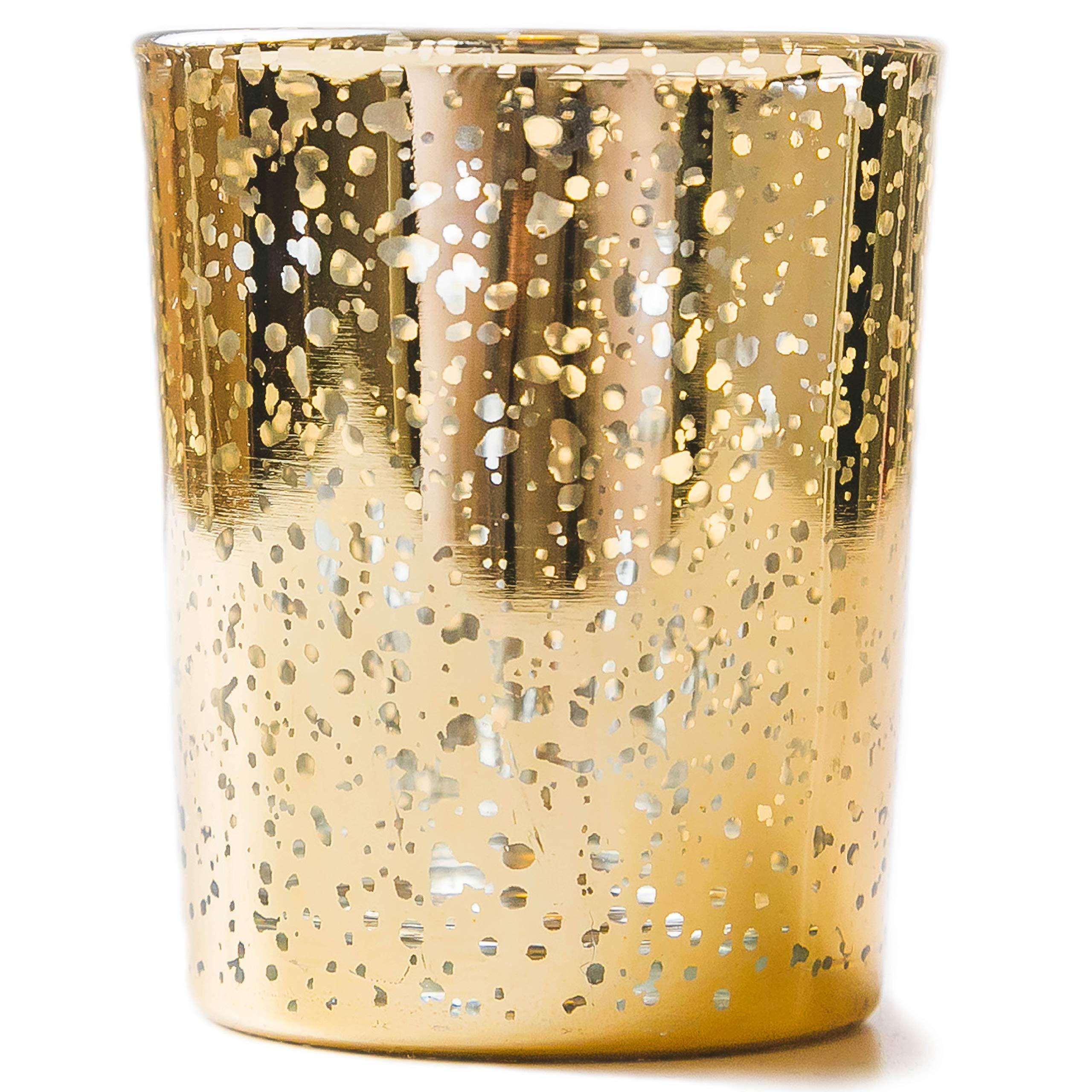 Vizayo Gold Votive Candle Holders, 24x Candle Holder for Small Candles and Tealight Candles -Stunning Wedding Decor and Bridal Shower Centerpieces for Tables. Mercury Glass Candle Holder Bulk Set.