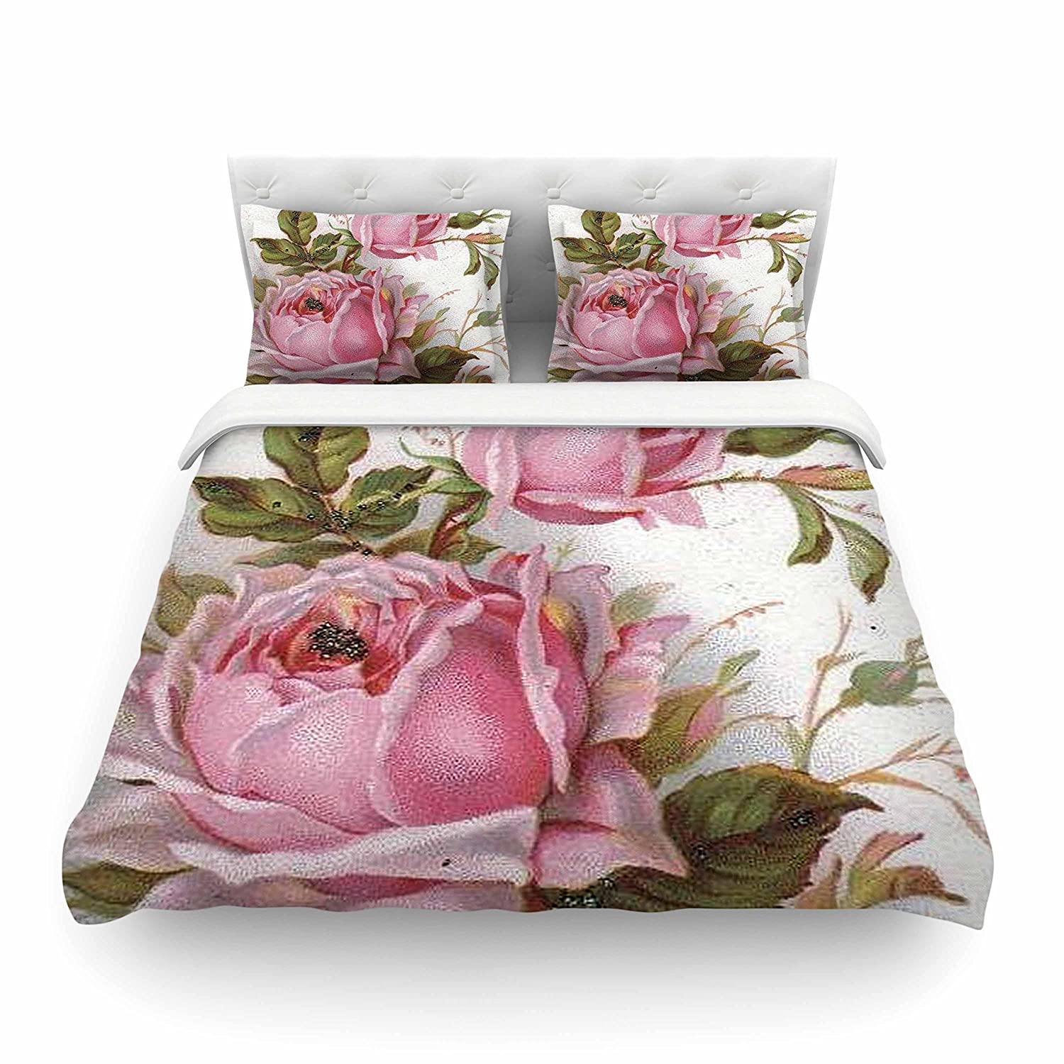 88 x 88, Kess InHouse Suzanne Carter Vintage Rose Featherweight Queen Duvet Cover