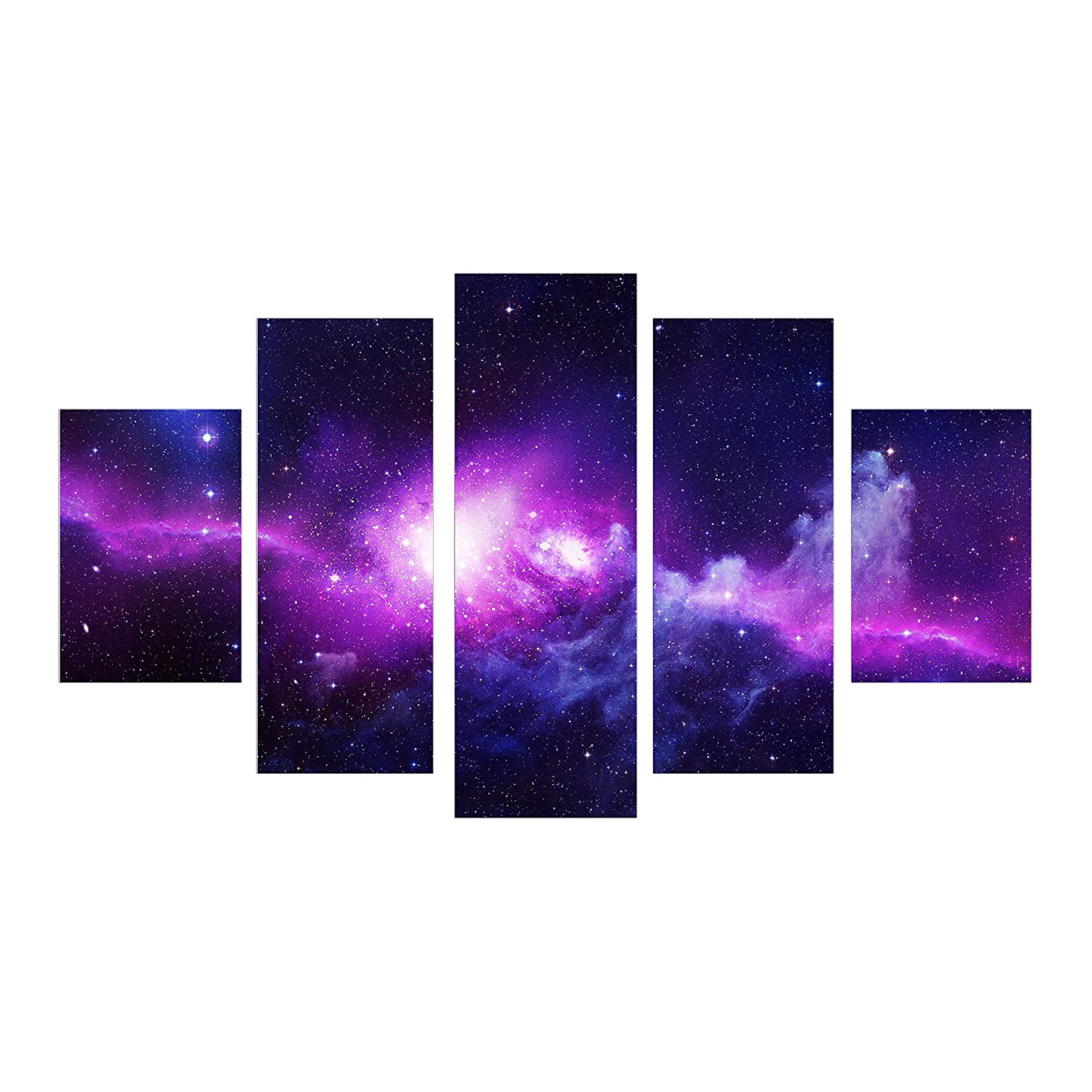 5 Piece Large Star Starry Night Canvas Art Print Purple Wall Oil Painting Picture for Home Office Living Room Wall Décor Framed ready to hang HappyHouseArt