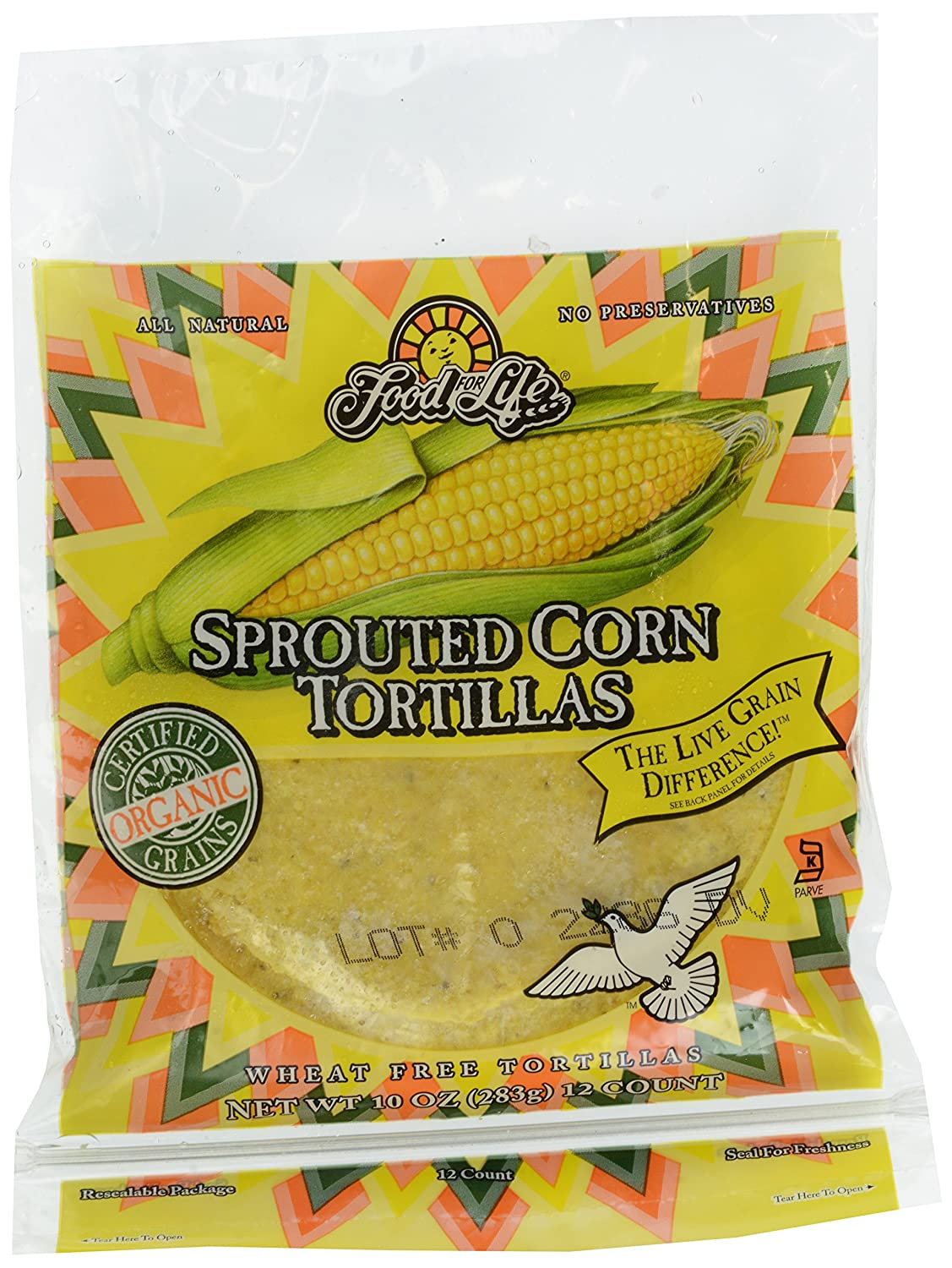 Food For Life, Tortillas, Sprouted Corn, Wheat Free, Organic, 10 oz (Frozen)