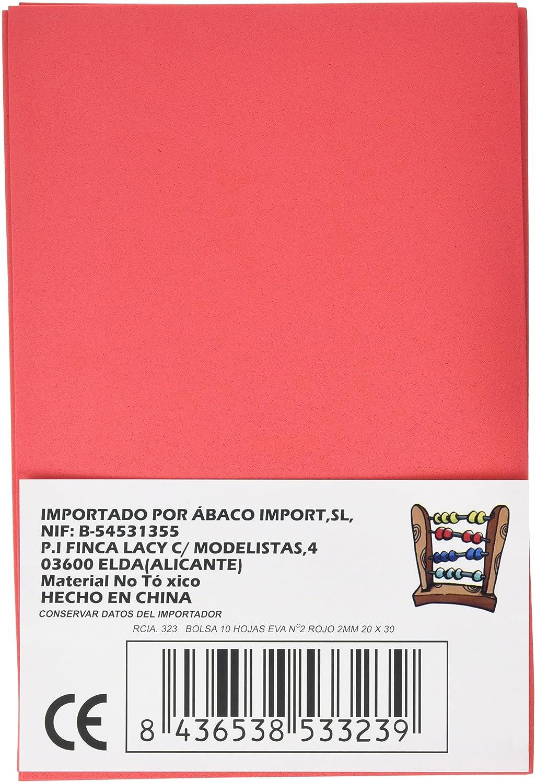 Pack de 10 laminas gomas Eva Abaco 323 19 mm de grosor color rojo 20x30 mm