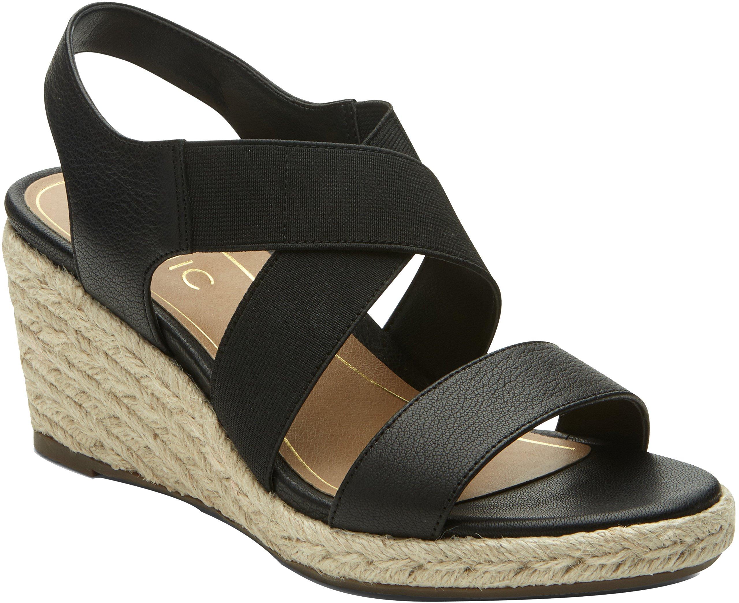 Vionic Tulum Ainsleigh - Womens Wedge Sandal Black - 9 Wide