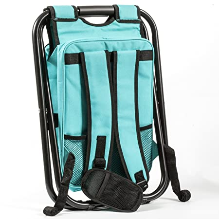 One Savvy Girl Ultralight Backpack Cooler Chair – Compact Lightweight and Portable Folding Stool – Perfect for Outdoor Events, Travel, Hiking, Camping, Tailgating, Beach, Parades More