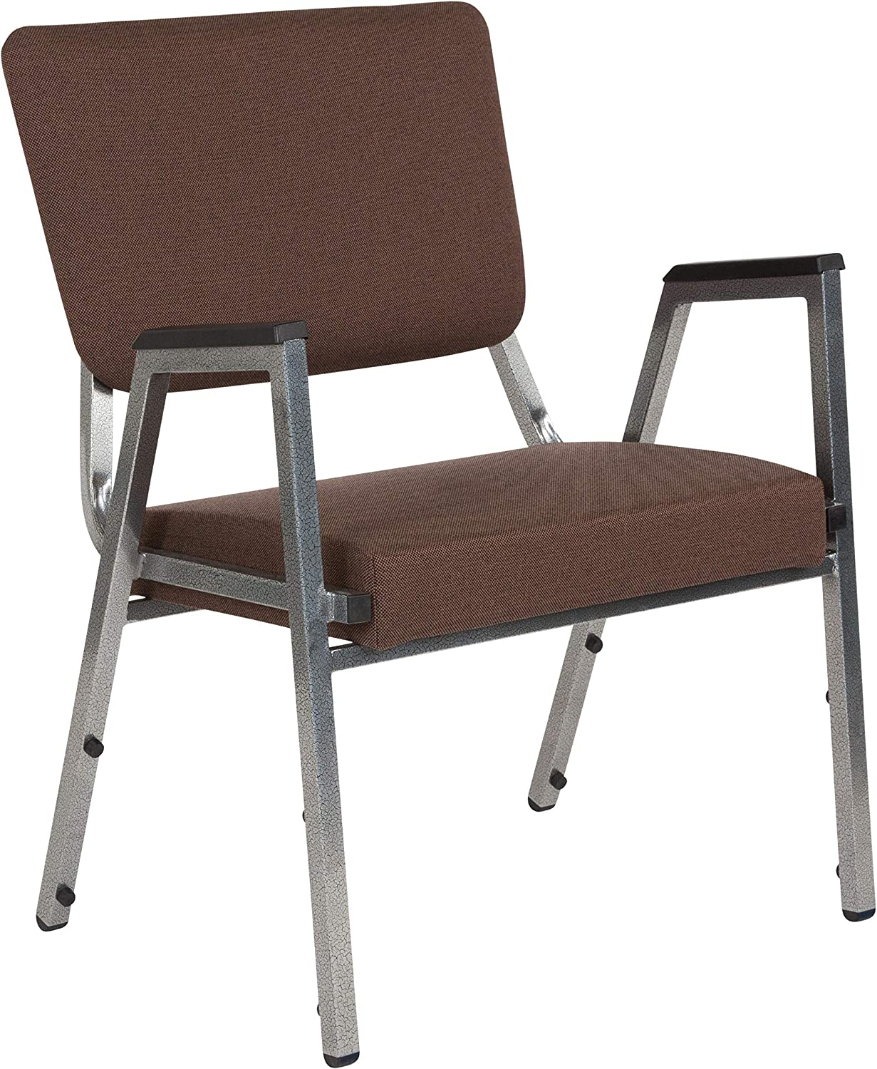 Flash Furniture HERCULES Series 1500 lb. Rated Brown Antimicrobial Fabric Bariatric Medical Reception Arm Chair with 3/4 Panel Back
