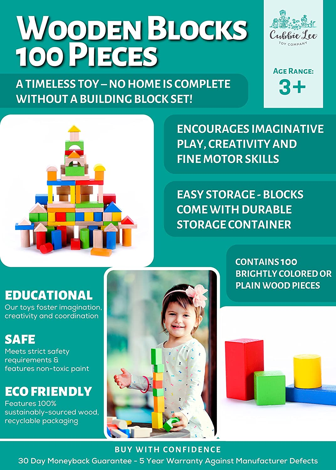 Cubbie Lee Premium Wooden Building Blocks Set 100 pc for Toddlers Preschool Age Classic Hardwood Plain /& Colored Small Wood Block Pieces for Boys /& Girls Classic Build /& Play Toy