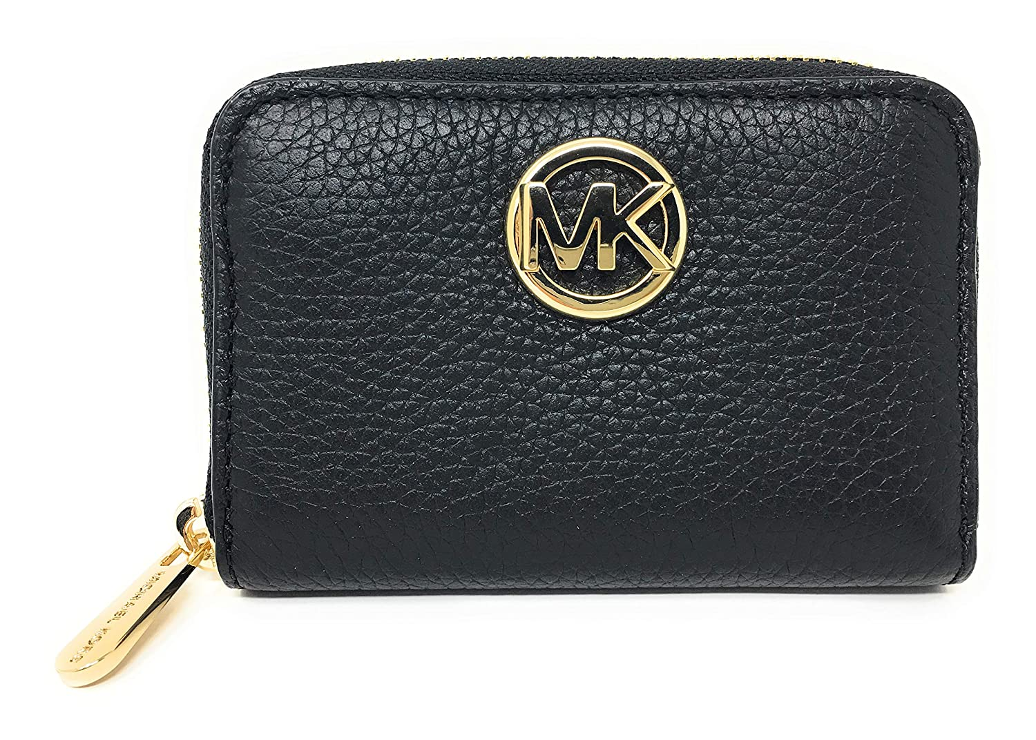 98cd6b893a718f Amazon.com: Michael Kors Fulton Leather Zip Around Coin Case (Black): Shoes