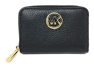 788184202f4e Amazon.com: Michael Kors Fulton Leather Zip Around Coin Case (Black ...