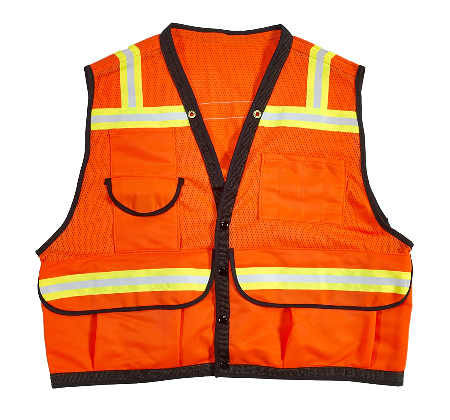 Orange Mutual Industries 16333-45-3 High Visibility Mesh Super Deluxe Surveyor Vest with 2 Vertical and 2 Horizontal 1-1//2 Lime//Silver//Lime Reflective Stripes Large