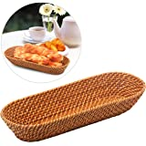MyGift 15 Inch Rattan Bread Basket, Long Woven Tabletop Serving Platter, Brown