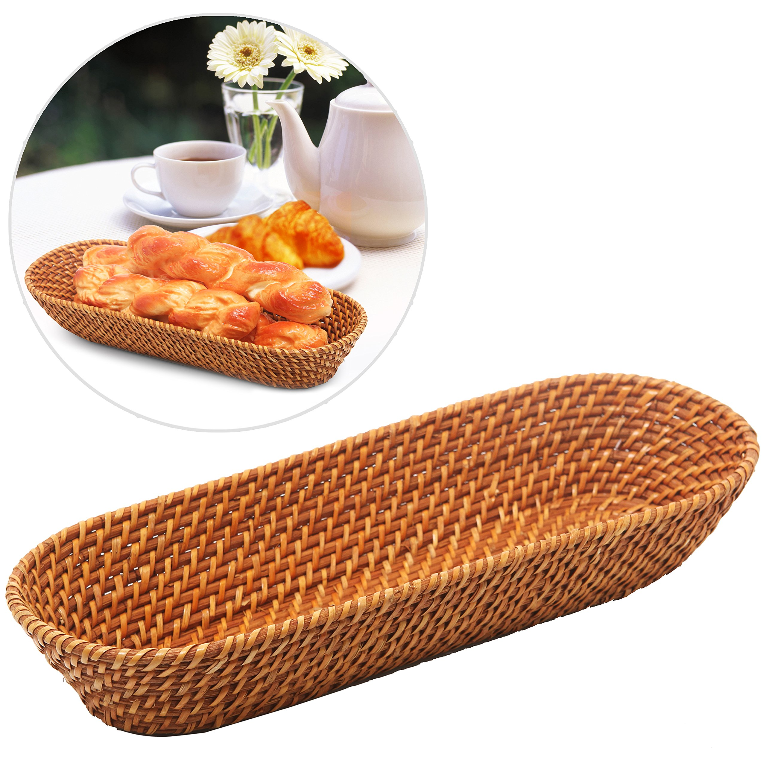 MyGift 15 Inch Rattan Bread Basket, Long Woven Tabletop Serving Platter, Brown