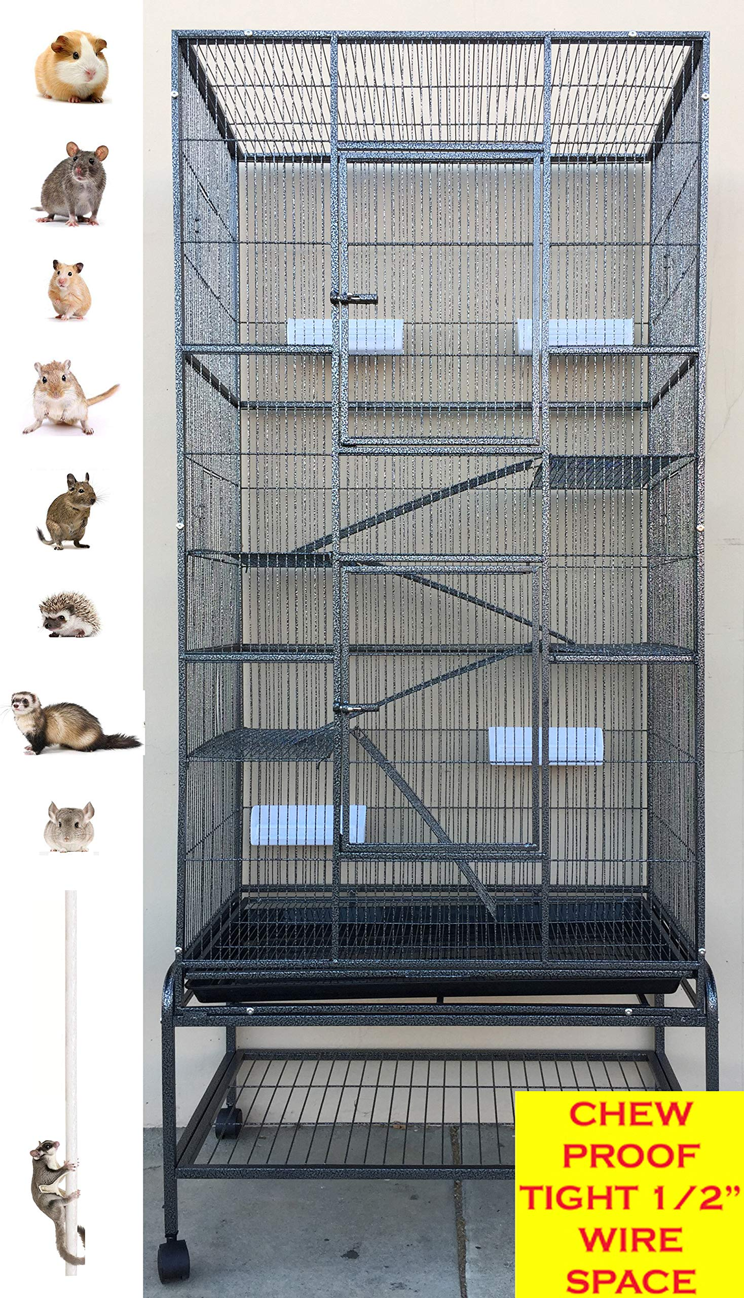 Mcage 2 Color, Extra Large Tall 3 Levels Ferret Chinchilla Sugar Glider Squirrel Animal Cage with 1/2 Inch Cross Shelves and Ladders, 30'' Length x 18'' Depth x 72'' Height (Black Vein) by Mcage