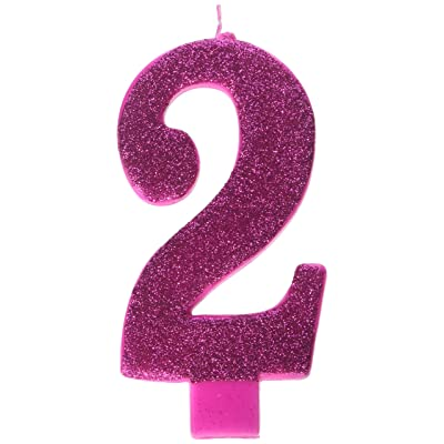 "amscan Numerical Candles, Numeral #2 Large Glitter Candle, Party Supplies, Pink, 5 1/4"": Kitchen & Dining"