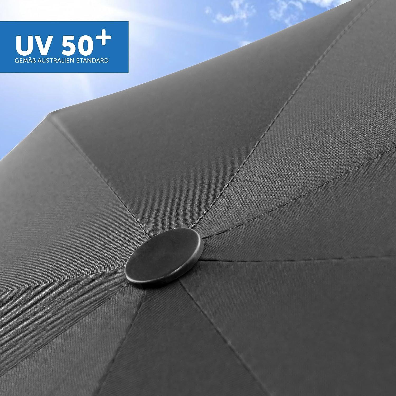 Schwarz UV Schutz 50+ // 73 cm Durchmesser Biegsamer Schirm mit Universalhalterung f/ür Rund- und Ovalrohre Universal Sonnenschirm Sonnenschutz f/ür Kinderwagen /& Buggy