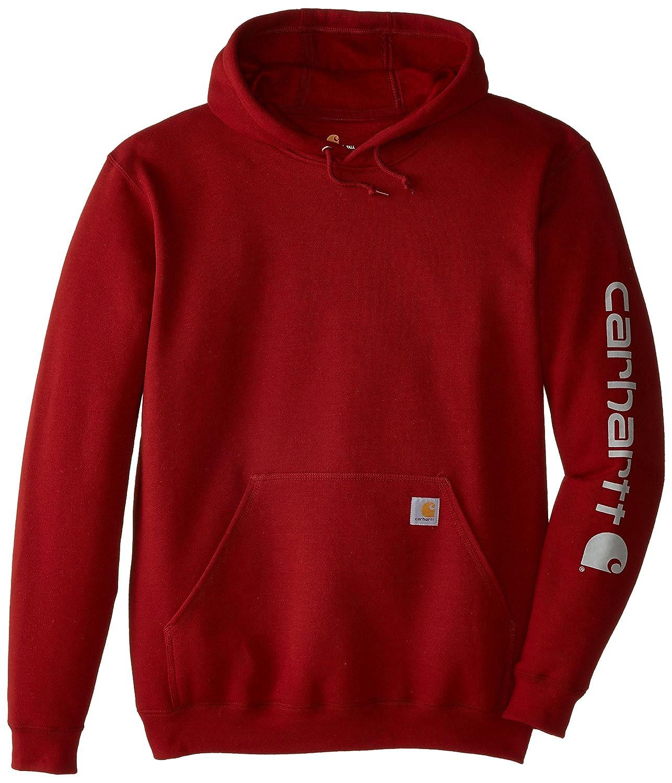 Carhartt Men's Big & Tall Signature Sleeve Logo Midweight Sweatshirt Hooded Carhartt Sportswear - Mens K288