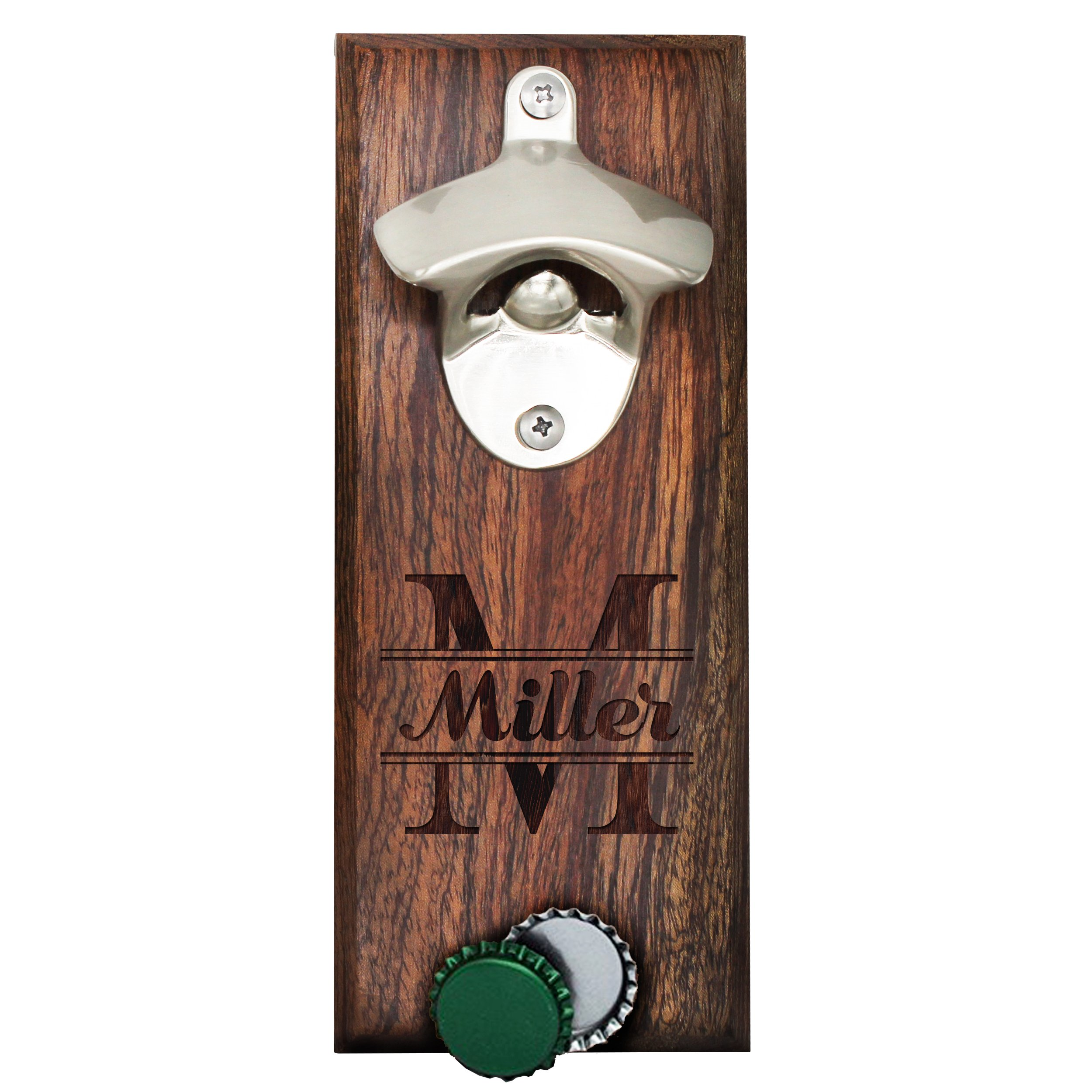 Personalized Wall Mount Bottle Opener Magnet Cap Catcher - Custom Engraved Groomsmen Wall Mounted Magnetic Gift (Walnut, Original) by The Wedding Party Store