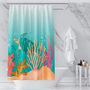 VEGA U Sea Turtle Coral Shower Curtain for Bathroom, Modern Beach Bath Decor with Hooks, Hotel Quality, 72x72 Inch, Watercolor (Watercolor)