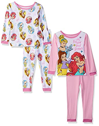 c0cee3088 Amazon.com  Disney Baby Girls Multi-Princess 4-Piece Cotton Pajama ...