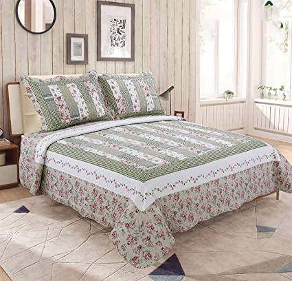 buy online 91a52 78060 mohap Revisible Set Trapunta Floreale Muticolored Stampa copriletto  Patchwork con federe (King Size), Pattern#6, King
