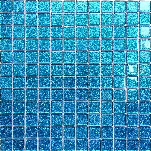 30x30cm ocean blue glitter glass mosaic tiles sheet mt0008