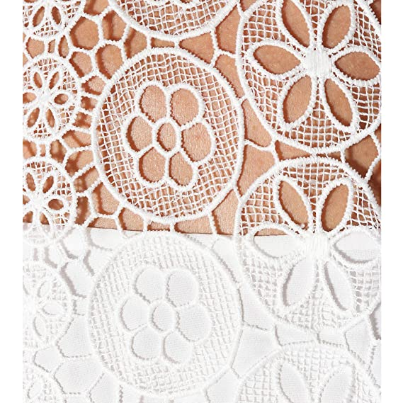 3f99f9936400 Amazon.com: Self Portrait Circle Floral lace Tiered Mini Dress UK10/US6  White: Clothing