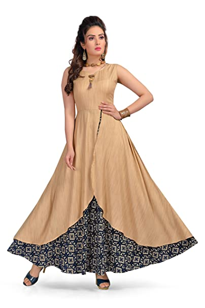fe091fea649 Madhuram Textiles MT Womens Long Maxi Style Kurti Dress - Indian Anarkali  Design Tops for Girls (Navy Blue Small)  Amazon.ca  Clothing   Accessories