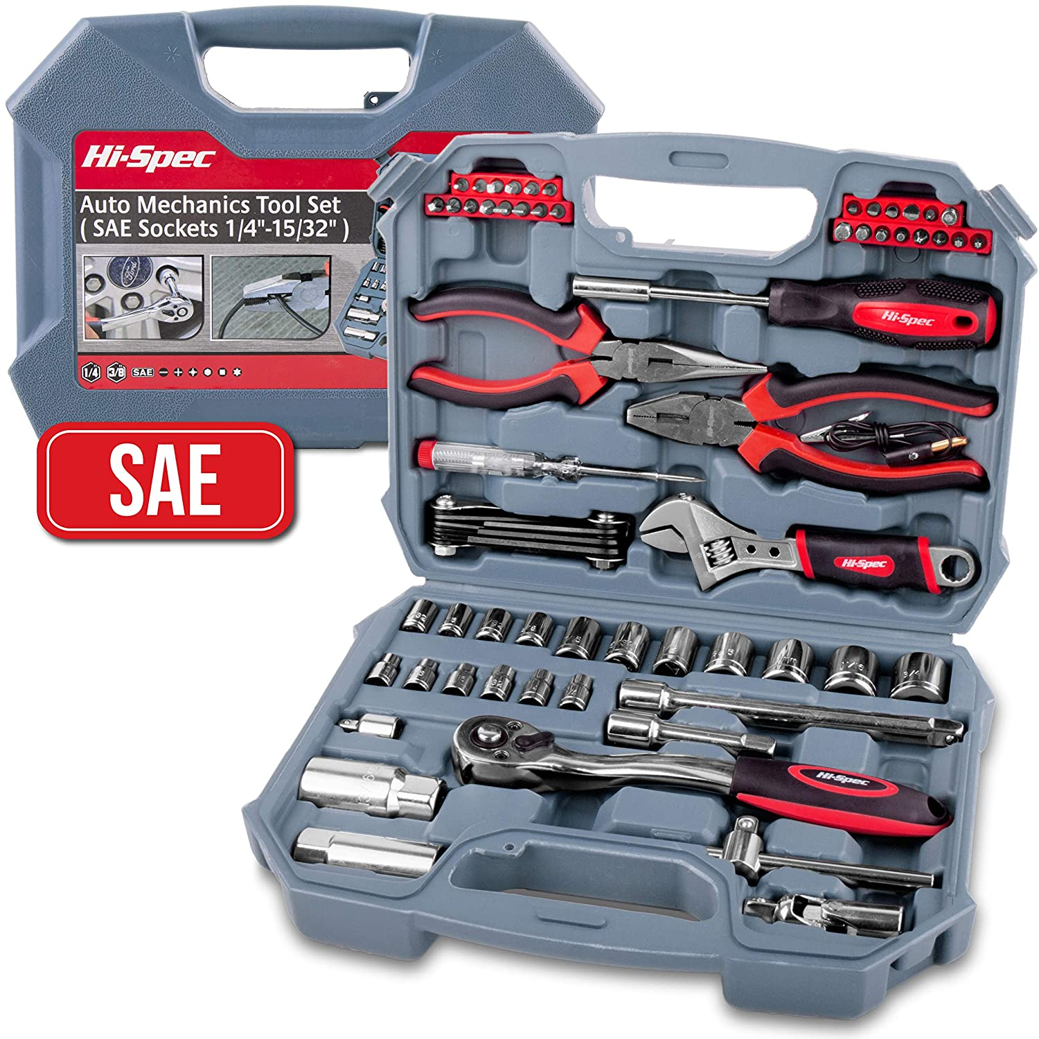 "Hi-Spec 67 Piece SAE Auto Mechanics Tool Set - Professional 3/8"" Quick Release Offset Ratchet with 72 Teeth, 5/32"" - 3/4"" SAE Sockets Set, T-Bar, Extension Bar, Hand Tools & Screw Bits in Storage Case"