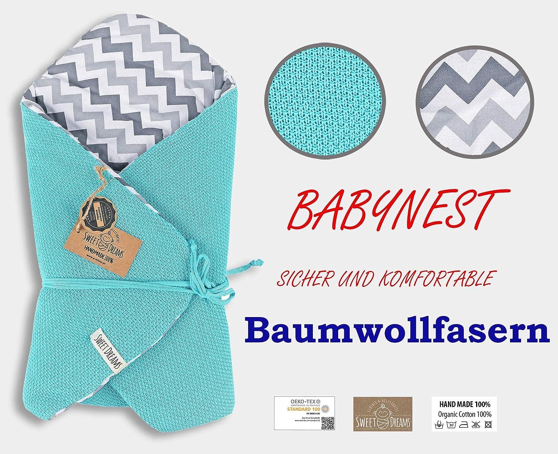 SweetDreams Baby Einschlagdecke Schlafsack Wickeldecke für Neugeborene 75x75 cm.