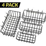 ToolAssort Pegboard Basket Set of 4, Hooks Easily to Arrange Accessories, Organizer Bins Transform any Garage, Crafts Room, Nursery or Kitchen, Black Vinyl Coated Wire Basket Kit