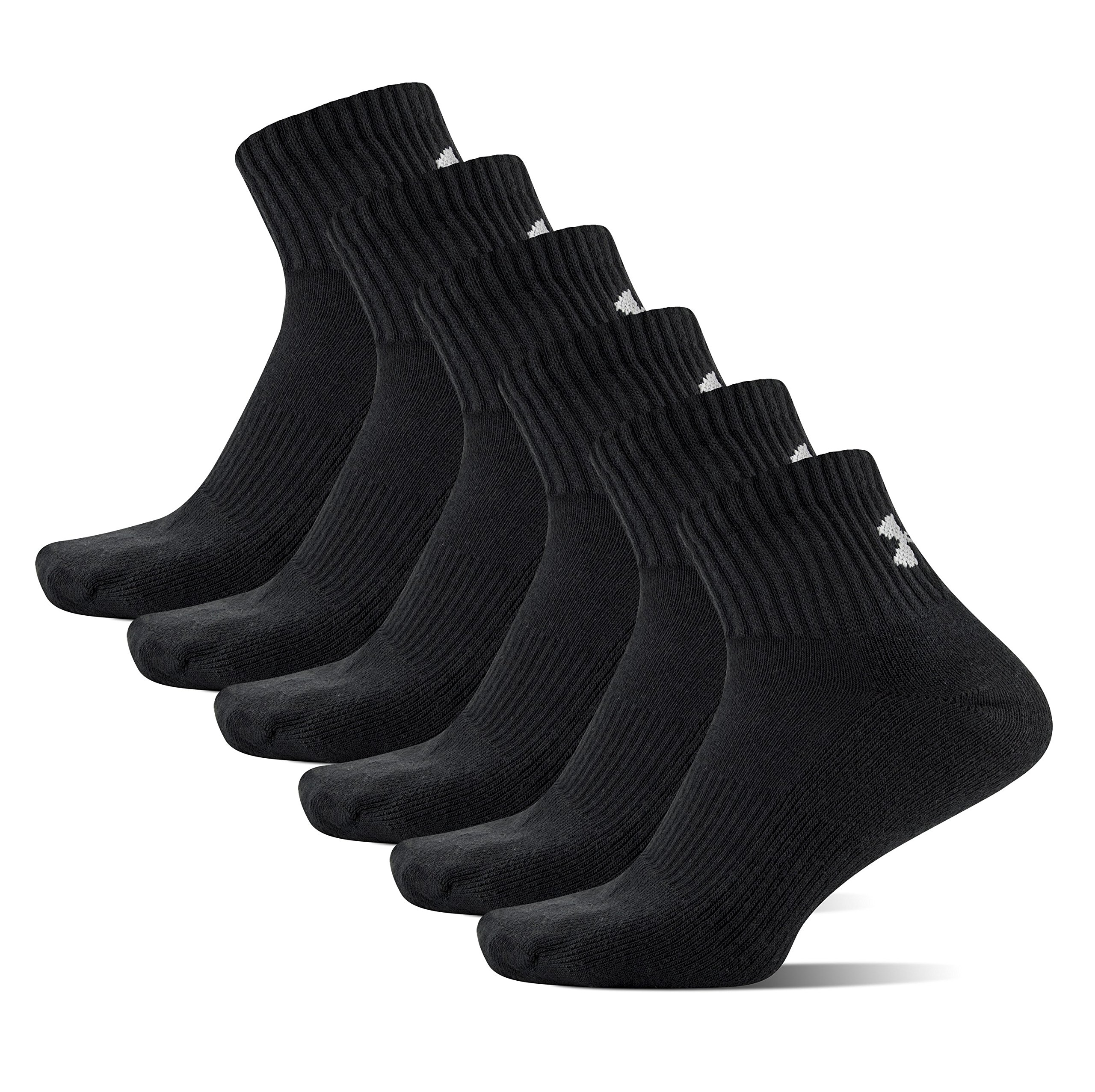 Under Armour Men's Charged Cotton 2.0 Quarter Socks, Black/Gray, Large (Pack of 6) by Under Armour