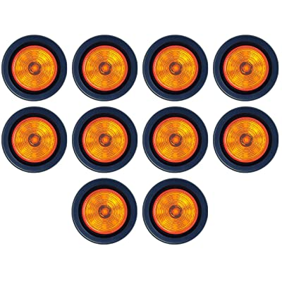 "2"" Round Amber 9 LED Light Trailer Side Marker Clearance Grommet + Plug Qty 10: Automotive"