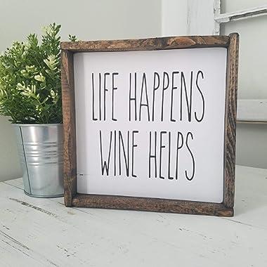 Farmhouse Kitchen Decor Life Happens Wine Helps Rustic Sign