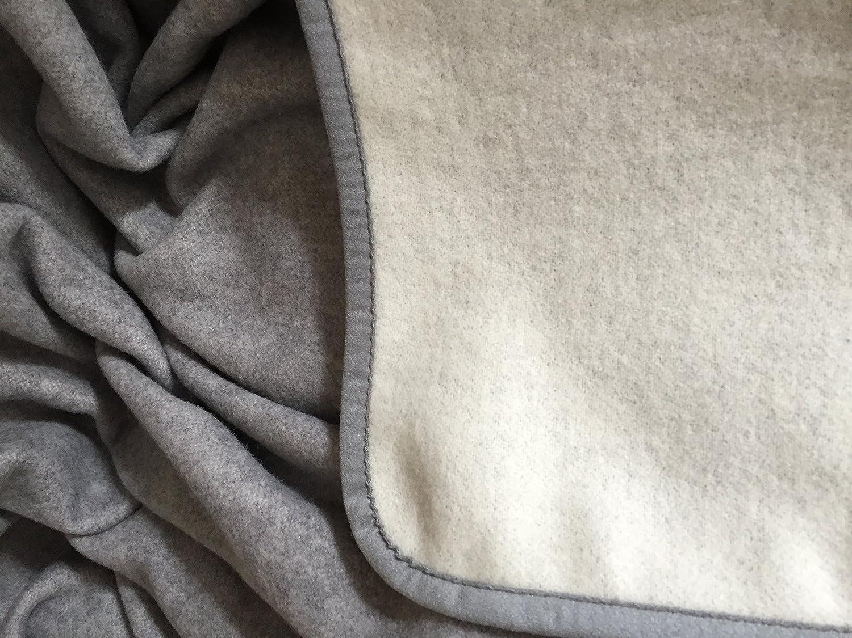 Wollplaid, Tagesdecke, Wendeplaid grau mit Kaschmir Anteil, Made in Germany (135x200)