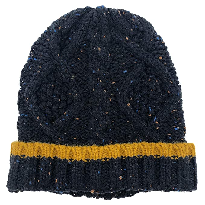 b55f840e02dde Amazon.com  accsa Mens Warm Chunky Cable Knit Beanie Hat Age 18+ Navy   Clothing