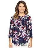 NYDJ Women's Petite Size 3/4 Sleeve Henley Pleat Back Blouse, Fireworks Floral Peacoat, X-Small