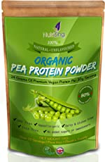 NutriZing's Organic Pea Protein Powder in 1kg pouch. Pure, Natural & Unflavoured, made from Canadian Peas. Suitable For Vegetarians and Vegans. Best Soy & Gluten Free Alternative To Build Muscle. Makes a Great Vegan Protein Shake for Exercise.
