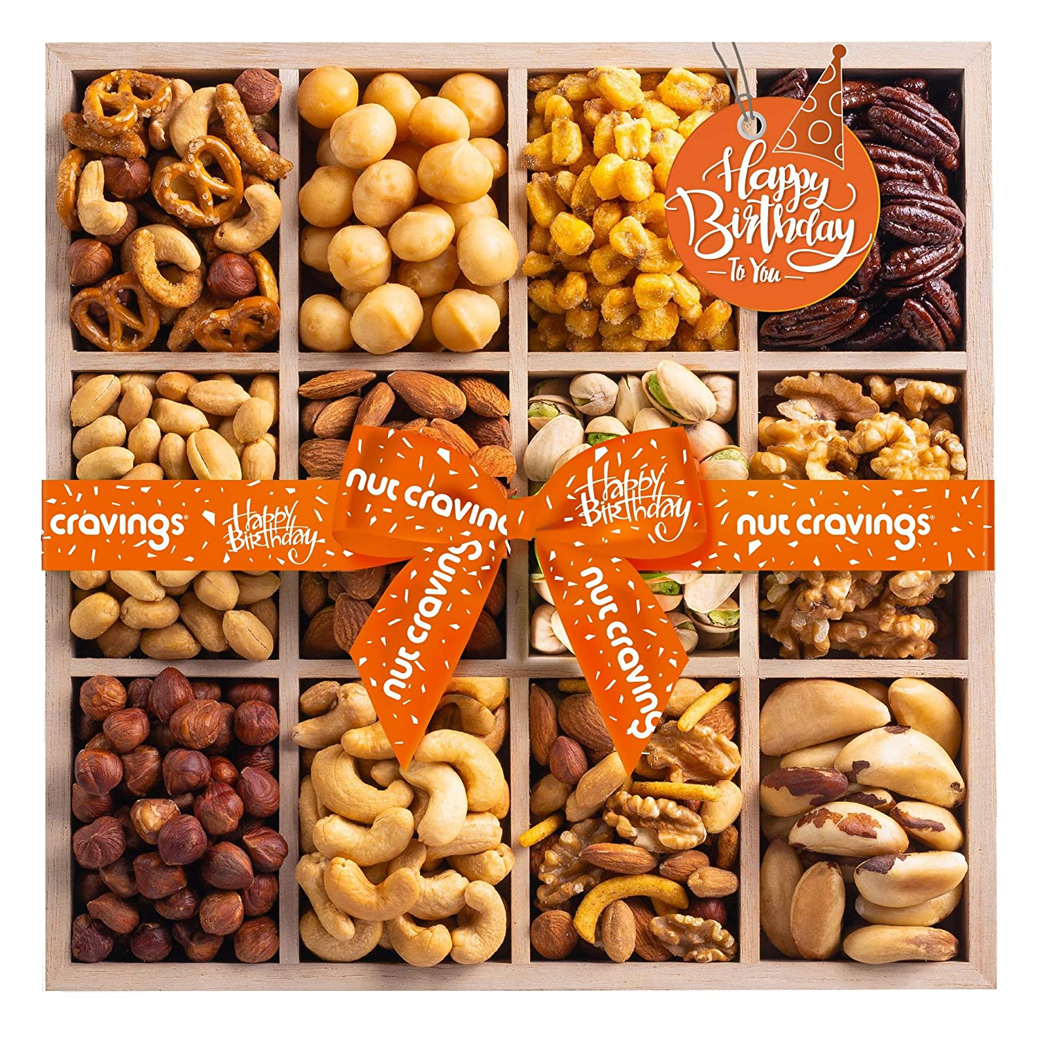 Happy Birthday Gift Basket, Wooden Nut Tray Platter + Orange Ribbon (12 Piece Assortment) Arrangement Platter, Care Package Variety, Healthy Food Tray, Kosher Snack Box for Mom, Women, Men, Adults