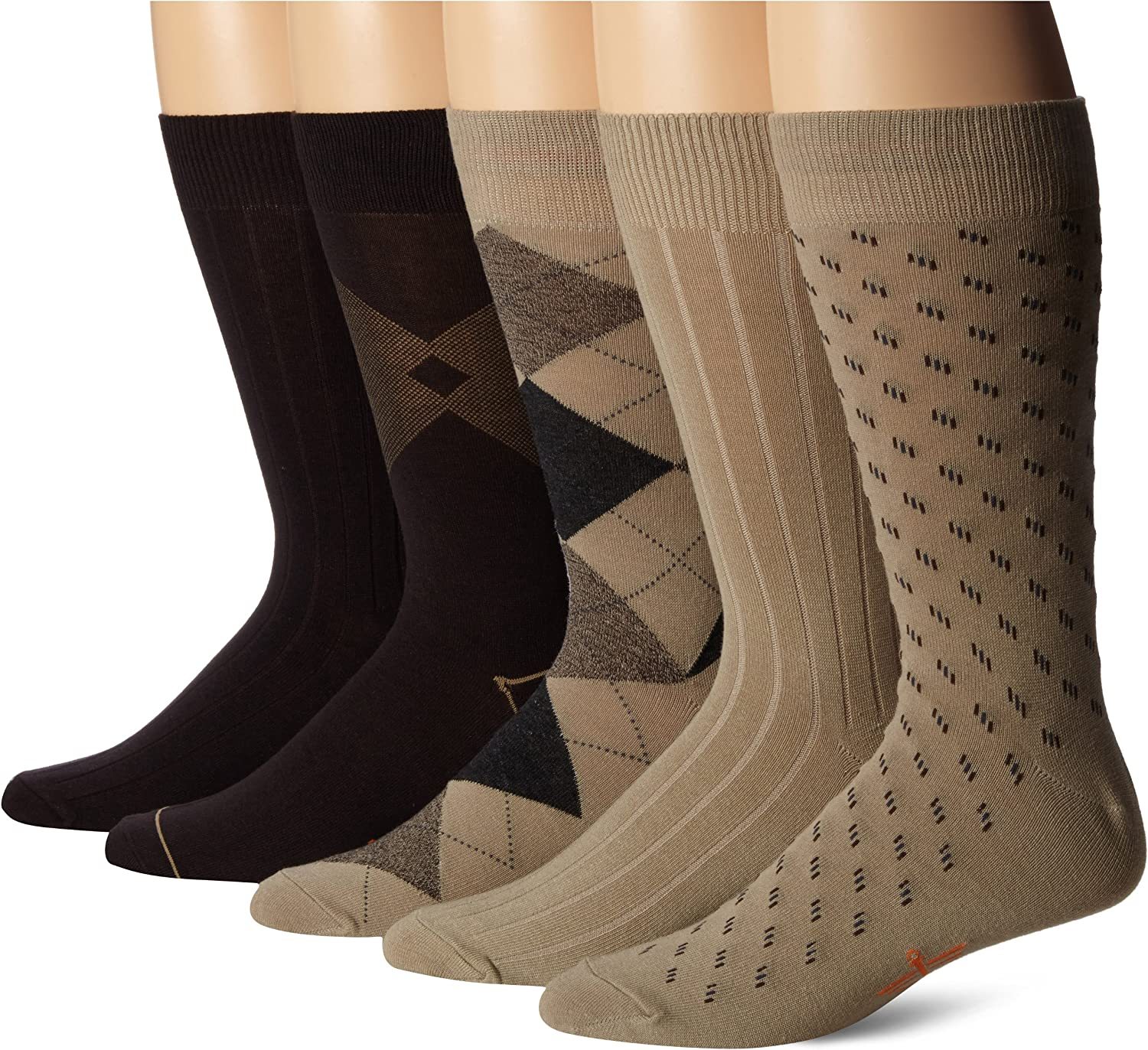 Dockers Men's Classics Dress Argyle Crew Socks, (Pack of 5)