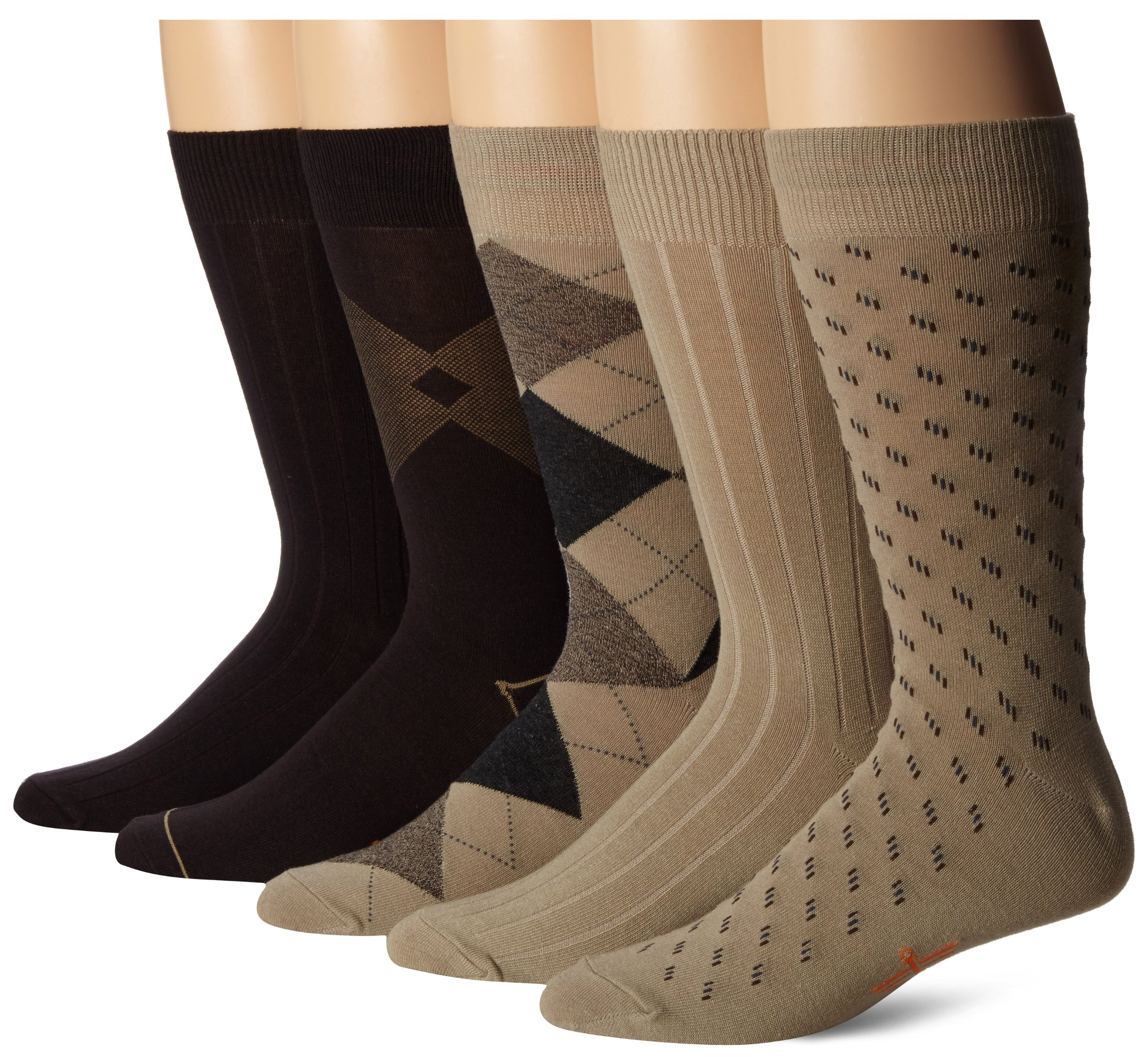 Dockers Men's 5 Pack Classics Dress Argyle Crew Socks, Khaki Assorted, Sock Size:10-13/Shoe Size: 6-12 by Dockers