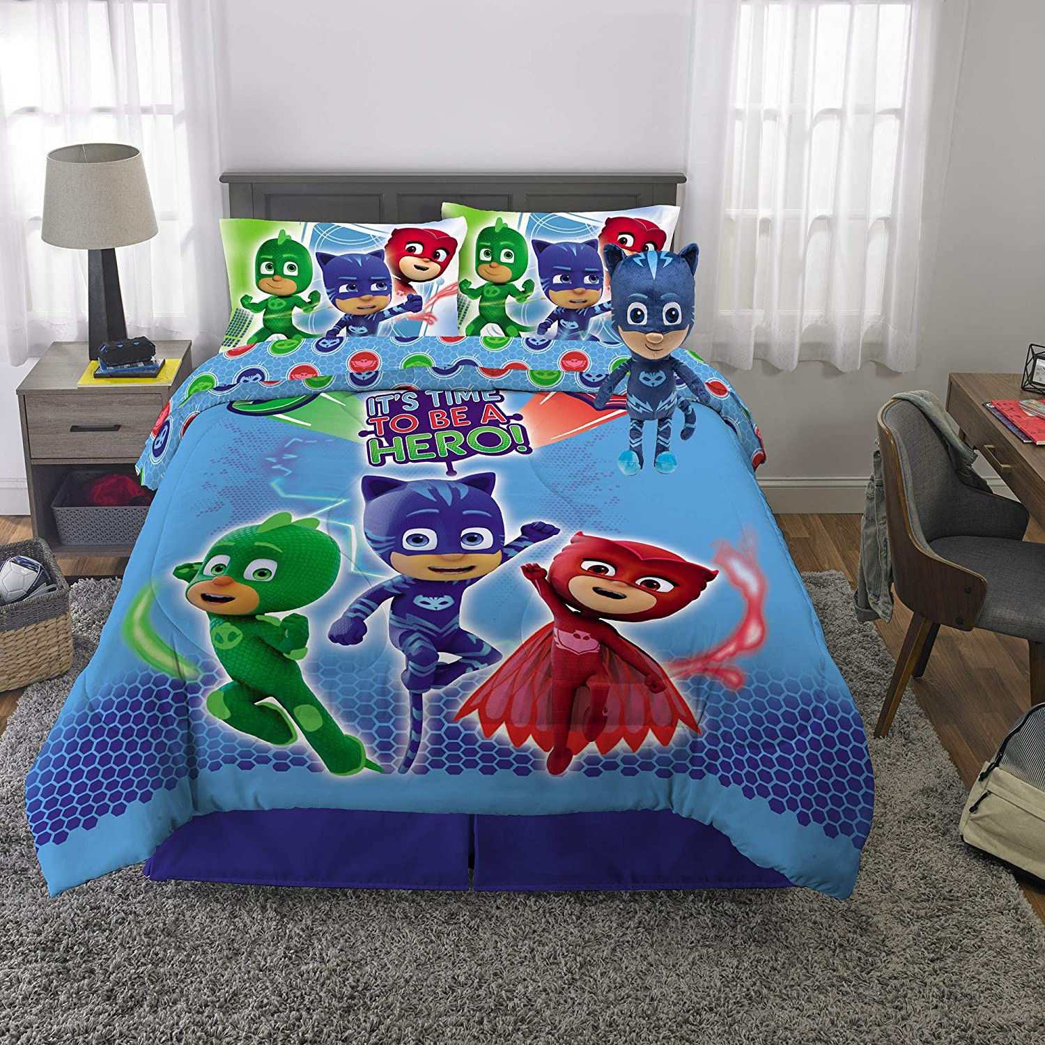 Franco Kids Bedding Super Soft Comforter with Sheets and Plush Cuddle Pillow Set, 6 Piece Full Size, PJ Masks