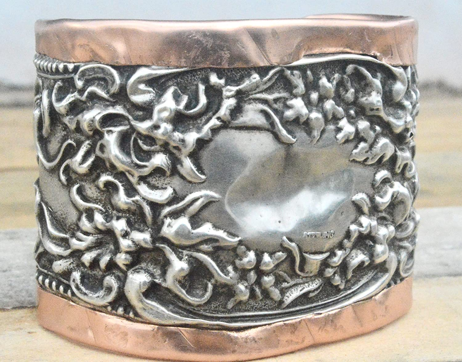 Deluxe Adult Costumes - Men's sterling silver and copper antique French repoussé style art nouveau wide cuff bracelet.