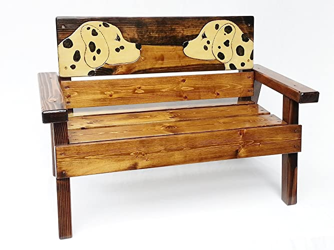 High Quality Kids Wooden Garden Bench With Arms, Engraved And Painted Dalmatian