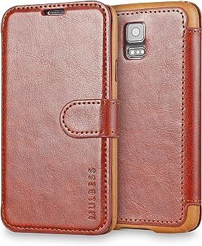 Mulbess Funda Samsung Galaxy S5 [Libro Caso Cubierta] [En Capas de Billetera Cuero] con Tapa Magnética Carcasa para Samsung Galaxy S5 / S5 Neo Case, Marrón: Amazon.es: Electrónica