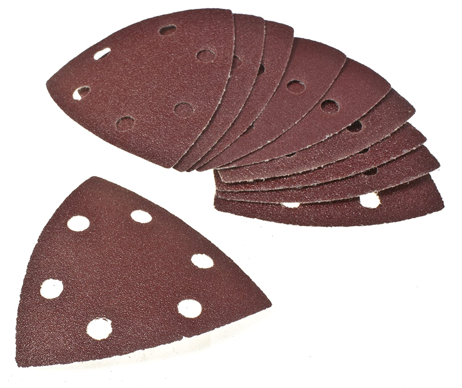 Toolzone 10Pc 90mm Hook and Loop Backed Delta Triangle Sander Sandpaper Pads Sheets Sanding Pads