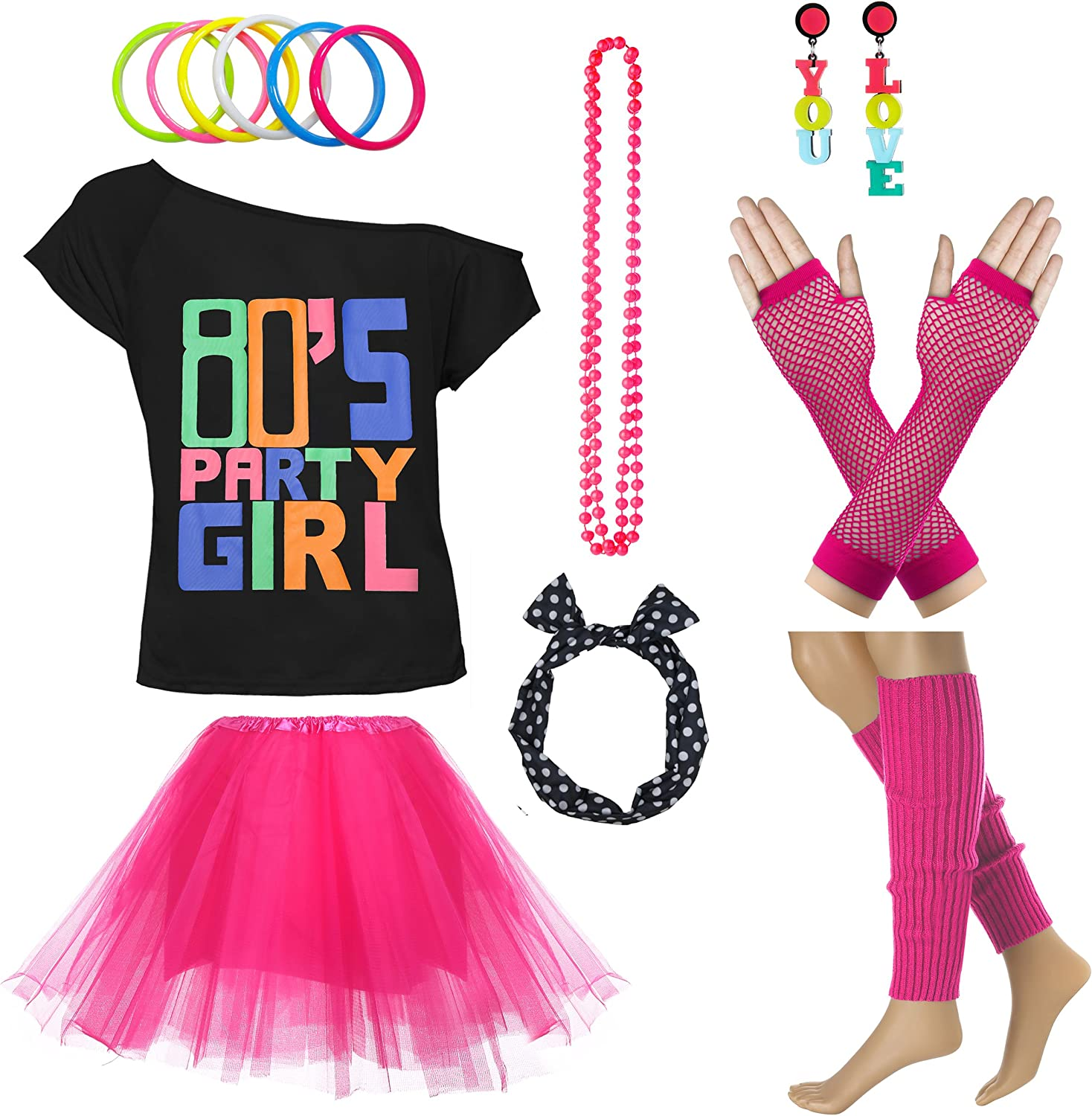 80s Party Womens Retro Costume Accessories Outfit Dress for 1980s Theme Party Supplies