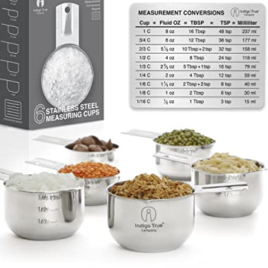 Stainless Steel Measuring Cups - Stackable 6 pcs Set with ORIGINAL Magnetic Measurement Conversions Chart